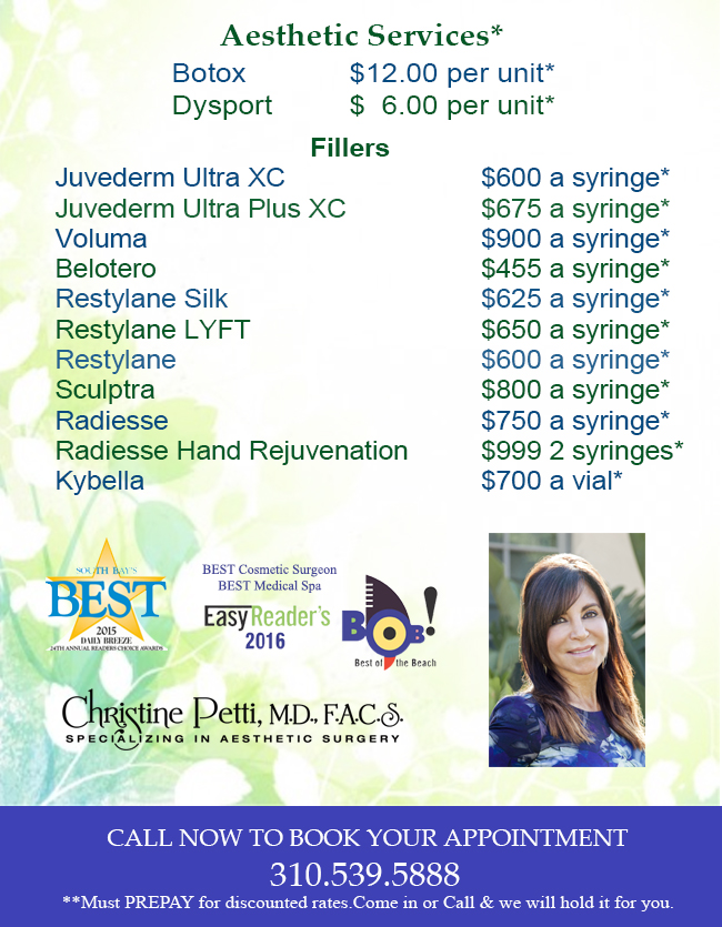 June Pricing Fillers and Injectables